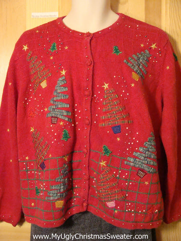 Tacky Cheap Ugly Christmas Sweater with Tippy Crafty Plaid Christmas Trees (f529)
