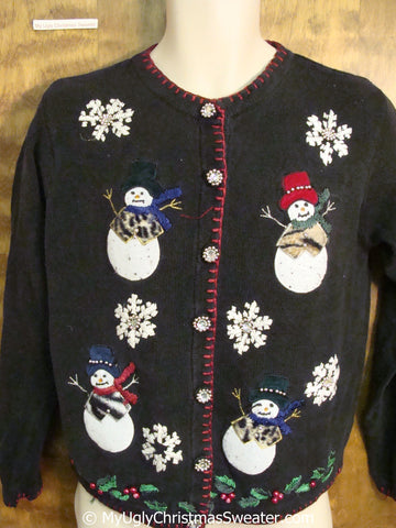 Tacky Christmas Sweater with Snowmen with Animal Print Clothes