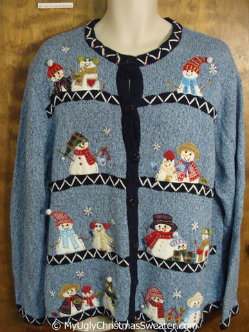 Blue Fun Snowman Themed Tacky Christmas Sweater