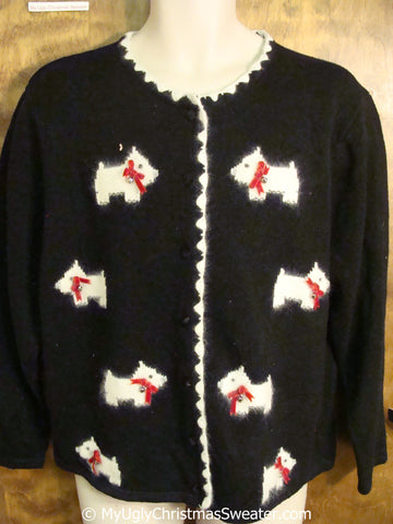 White Westie Dogs Themed Tacky Christmas Sweater