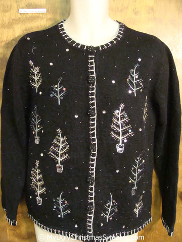 Cheap Black Tacky Christmas Sweater with Snowy Trees