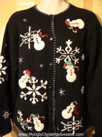 Tacky Cheap Ugly Christmas Sweater with Floating Snowmen in a Winter Wonderland (f530)