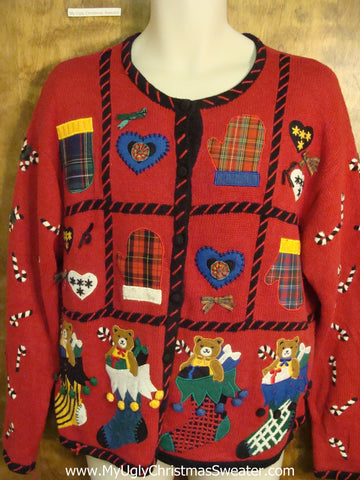 Tacky Busy Red Colorful Christmas Sweater