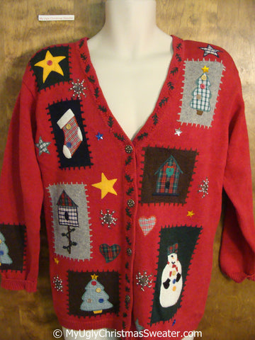 Crafty Red Tacky Christmas Sweater with Plaid Accents