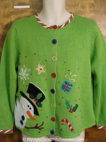Tacky Green Christmas Sweater with Padded Shoulders