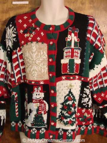 Tacky 80s Two Sided Colorful Christmas Sweater