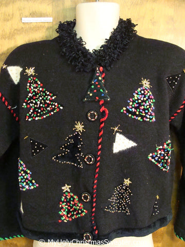 Fun 80s Tacky Christmas Sweater with Bling Trees