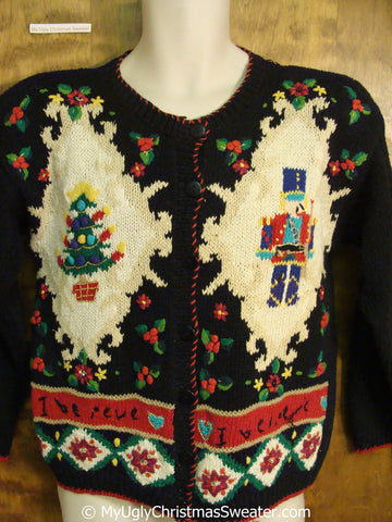 Fun 80s Nutcrackers Christmas Sweater I BELIEVE