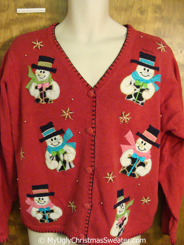 Tacky Christmas Sweater with Six Snowmen