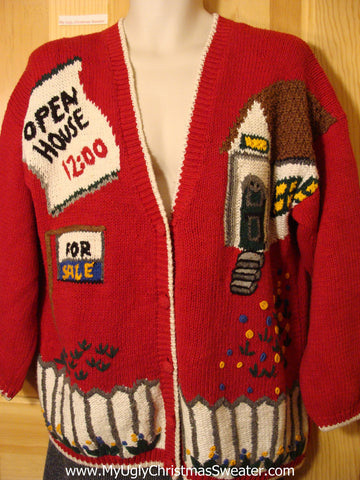 "Tacky Ugly Christmas Realtor Sweater ""Open House"" ""For Sale"" 80s Classic with Padded Shoulders (f531)"