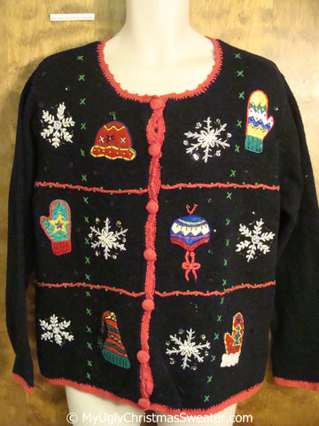 Tacky Christmas Sweater with Hats and Mittens