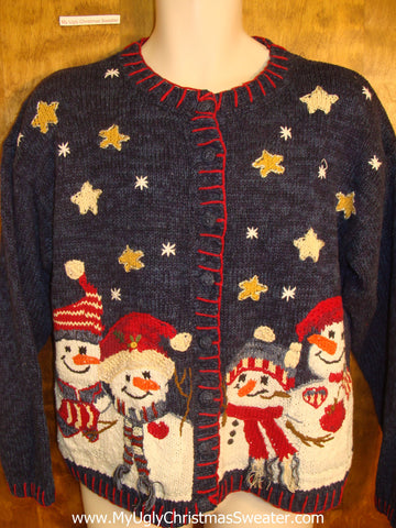 Carrot Nosed Snowmen Tacky Christmas Sweater