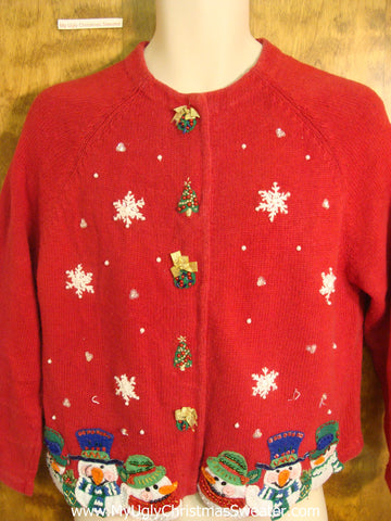 Tacky Red Christmas Sweater with Snowmen
