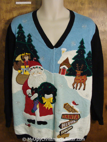 Two Sided Flying Santa Tacky Christmas Sweater