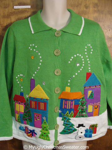Tacky Bright Green Christmas Sweater with Winter Town