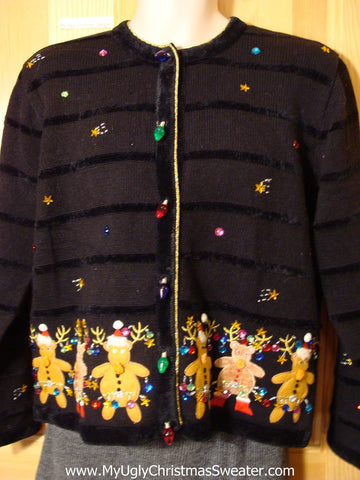Tacky Cheap Ugly Christmas Sweater with Dancing Bears and 3D Lightbulb Button Accents. Loads of Bling Gems. Reindeer on Front and Back. (f532)