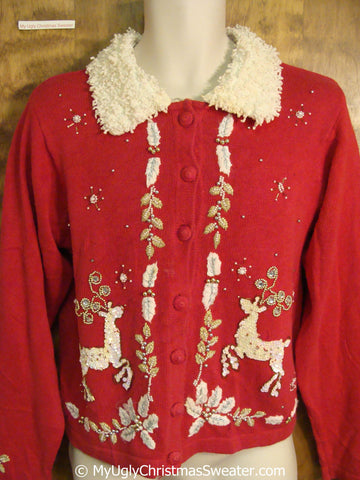 Tacky Christmas Sweater with Reindeer and Fluffy Color