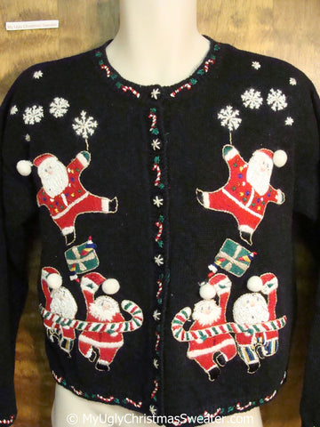 Tacky 80s Dancing Santas Themed Christmas Sweater