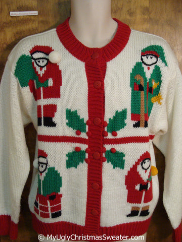 Four Santas 80s Fun Tacky Christmas Sweater