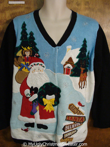 Two Sided Santa and Reindeer Tacky Christmas Sweater