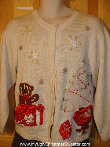 Tacky Cheap Ugly Christmas Sweater Cardigan with Bears and Bead Bling Accents (f533)