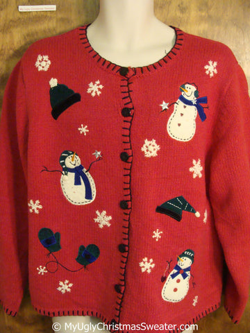 Tacky Christmas Sweater with Happy Snowmen