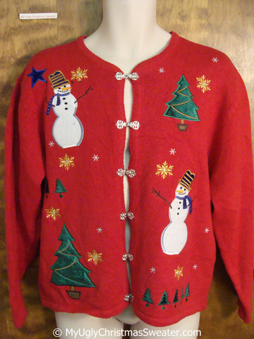 Red Tacky Christmas Sweater with Nordic Clasp Buttons