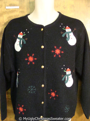 Fun Snowman Themed Tacky Christmas Sweater