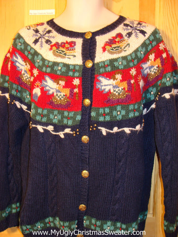 Tacky Cheap Ugly Christmas Sweater with 2sided Decorations of Angels and Nordic Patterns (f534)