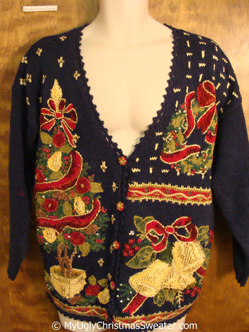 Tacky 80s Christmas Sweater with Ornate Tree Bell and Wreath