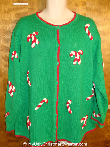 Best Green Tacky Christmas Sweater with Candycanes