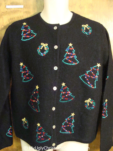 Tacky Christmas Sweater with Bling Trees