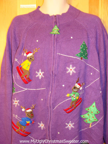 Tacky Cheap Ugly Christmas Sweater Purple with Skiing Bears (f535)