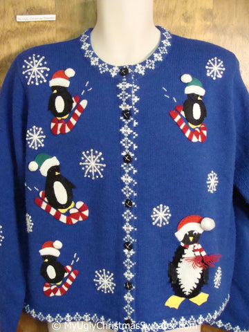 Best 80s Penguins and Candycanes Tacky Christmas Sweater