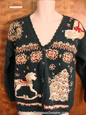 Tacky Christmas Sweater with Rocking Horse and Tree
