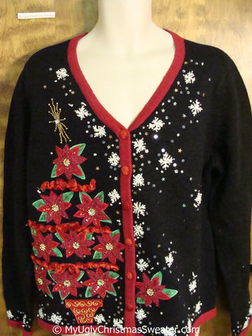 Tacky Christmas Sweater with a Tree of Poinsettias