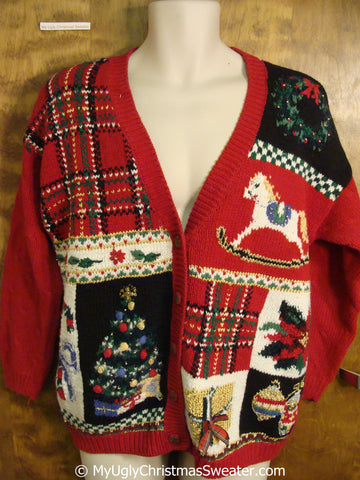 Retro 80s Tacky Christmas Sweater Cardigan