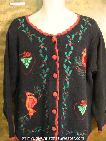 Cheap Tacky Christmas Sweater with Cardinal Birds