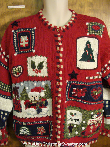 Tacky 80s 2sided Red Fun Christmas Sweater