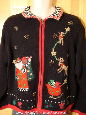 Tacky Cheap Ugly Christmas Sweater with Santa and Flying Reindeer (f536)