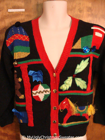 Fun 80s Tacky Christmas Sweater with Rocking Horse