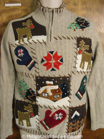 Winter Themed Brown Christmas Sweater