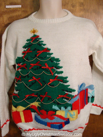 Retro 80s Tree with Bows Tacky Christmas Sweater