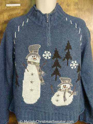 Tacky Blue Christmas Sweater with Snowmen
