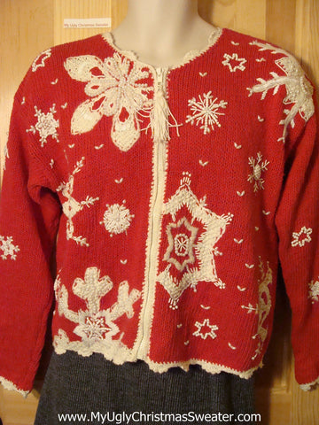 Tacky Cheap Ugly Christmas Sweater with Huge Festive Snowflakes (f537)