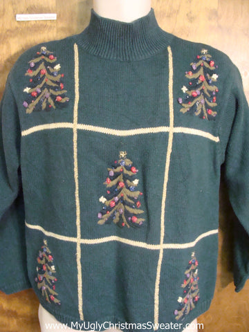Tacky Christmas Sweater with Tic Tac Toe Trees