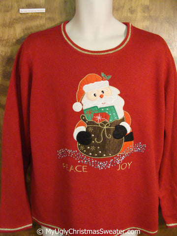PEACE and JOY Red Tacky Christmas Sweater