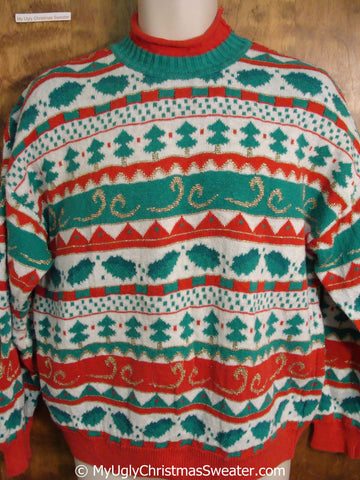 Tacky Retro Green and Red 80s Christmas Sweater