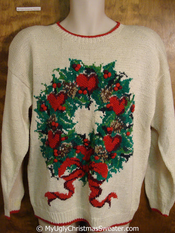 80s Amazing Tacky Christmas Sweater with Wreath and Bow
