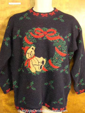Tacky 80s Acrylic Christmas Sweater with Wreath and Bear